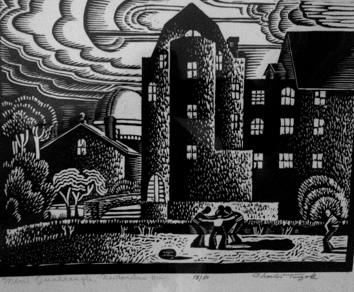 Men s quadrangle northwestern university evanston illinois cut on end grain maple block size 9 1 4 x 11 1 4 inches printed black only
